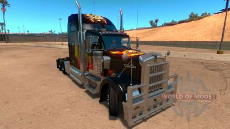 Kenworth W900 Guns and Roses Skin para American Truck Simulator