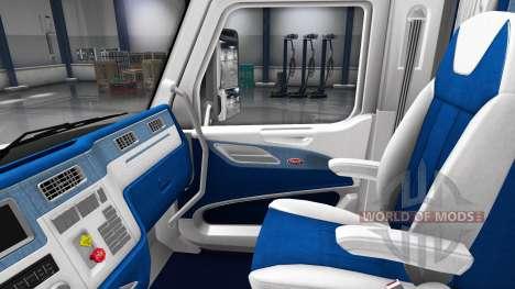 Blanco y azul, interior en un Peterbilt 579 para American Truck Simulator