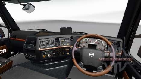 Negro y marrón, interior de la Volvo para Euro Truck Simulator 2