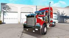 La piel de color Rojo en el camión Kenworth W900