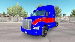 El rojo y el azul de la piel para el camión Pete