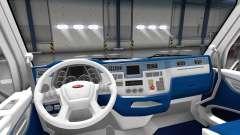 Blanco y azul, interior en un Peterbilt 579