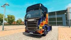 Fuego azul de la piel para Scania camión
