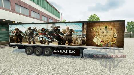 La piel Assassins Creed IV remolque para Euro Truck Simulator 2