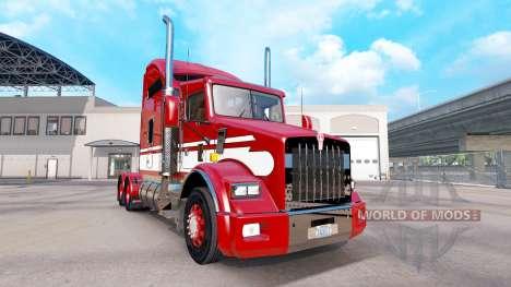 Piel Rojo-blanco-tractor Kenworth T800 para American Truck Simulator