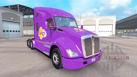 La piel de Los Angeles Lakers en el tractor Kenw para American Truck Simulator
