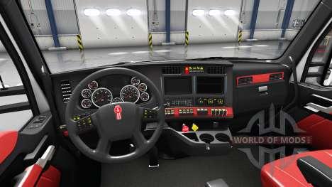 Interior rojo Kenworth T680 para American Truck Simulator