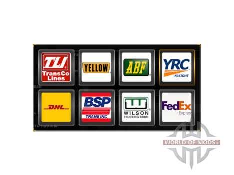 Los logotipos de las empresas de transporte de E para American Truck Simulator
