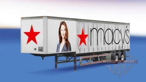 La piel de Macys en el remolque para American Truck Simulator