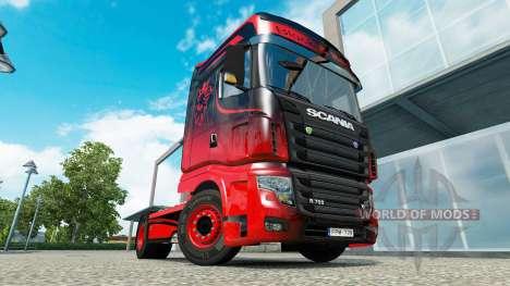 Piel Negro Y Rojo para el tractor Scania R700 para Euro Truck Simulator 2