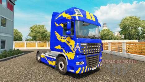 La piel Azul-amarillo-para DAF camión para Euro Truck Simulator 2