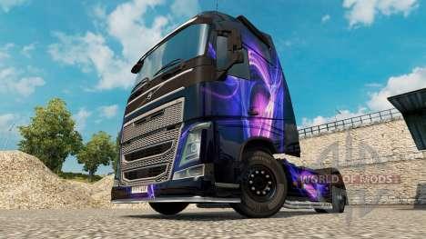 Piel Negro Y Morado en un camión Volvo para Euro Truck Simulator 2