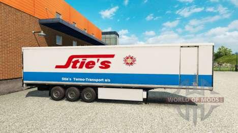 La piel Sties en la parte de atrás de un semi para Euro Truck Simulator 2