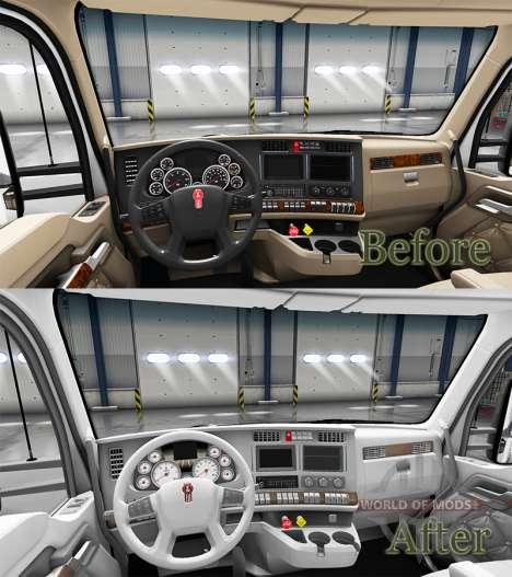 Blanco Kenworth T680 interior para American Truck Simulator
