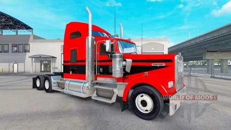 Piel Rojo-negro con rayas en el camión Kenworth  para American Truck Simulator