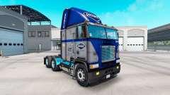 La piel Overnite en camión Freightliner FLB