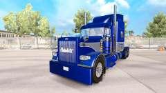La piel Azul-gris en el camión Peterbilt 389
