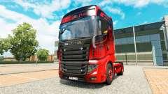 Piel Negro Y Rojo para el tractor Scania R700