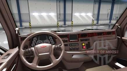 De lujo marrón interior Peterbilt 579 para American Truck Simulator