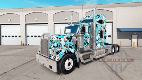 Stickerbomb de la piel para el Kenworth W900 tra para American Truck Simulator