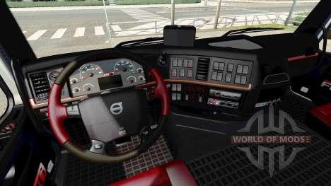 Negro y rojo interior Volvo para Euro Truck Simulator 2