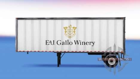 La piel de E&J Gallo Winery en el remolque para American Truck Simulator