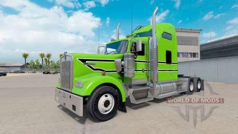 Piel Negra con rayas blancas en el camión Kenwor para American Truck Simulator