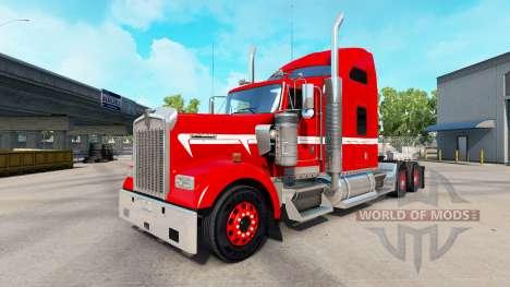 Piel Roja con Franja Blanca en el camión Kenwort para American Truck Simulator