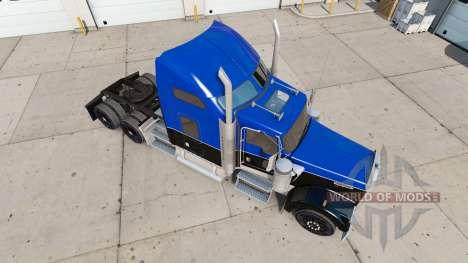 Piel de color Negro y Azul en el camión Kenworth para American Truck Simulator