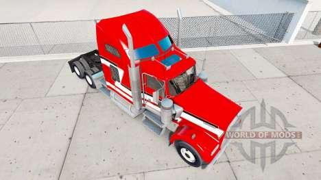 La piel de color Rojo y Blanco en el camión Kenw para American Truck Simulator