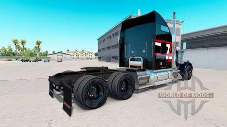 Piel Roja con rayas blancas en el camión Kenwort para American Truck Simulator
