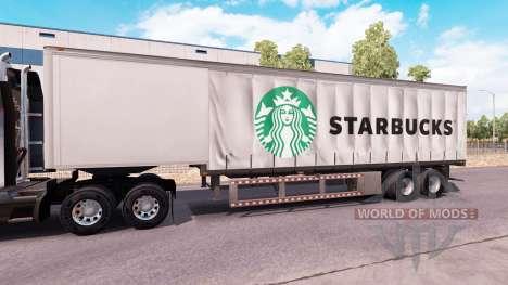 Curtain semitrailer Starbucks para American Truck Simulator