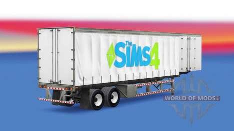 La piel de Los Sims 4 en una cortina semi-remolq para American Truck Simulator
