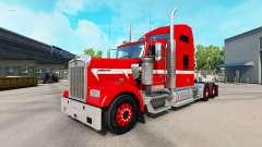 Piel Roja con Franja Blanca en el camión Kenwort