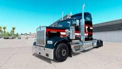 Piel Roja con rayas blancas en el camión Kenwort