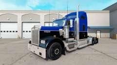 Piel de color Negro y Azul en el camión Kenworth