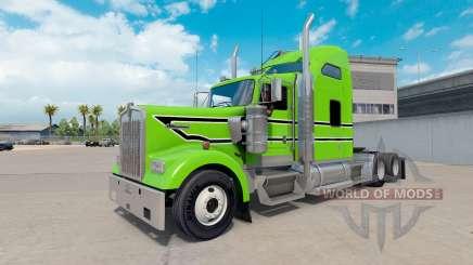Piel Negra con rayas blancas en el camión Kenworth W900 para American Truck Simulator