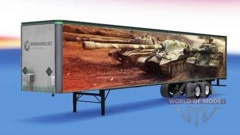 La piel de World of Tanks en el remolque para American Truck Simulator