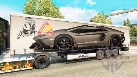 La piel Lamborghini Aventador en el trailer para Euro Truck Simulator 2