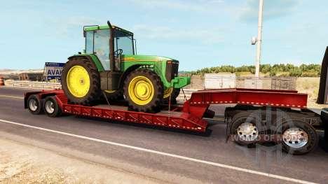 Baja de barrido con una carga de tractor John De para American Truck Simulator