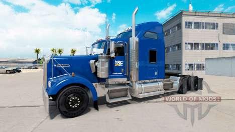 La piel YRC Freight en el camión Kenworth W900 para American Truck Simulator