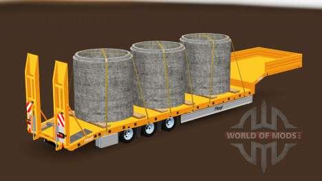 Bajo marco de arrastre de Fliegl con diferentes  para American Truck Simulator