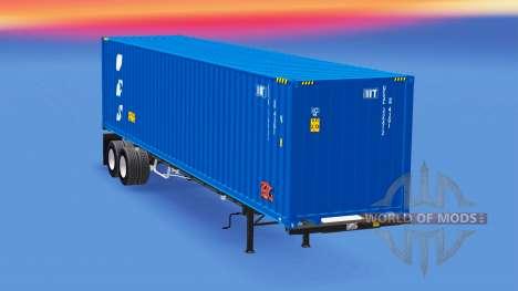 Semi-remolque con un contenedor 40 pies para American Truck Simulator