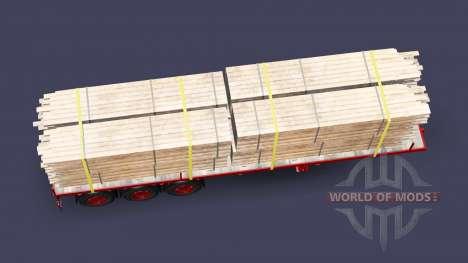 El semirremolque de plataforma con tarjetas de c para Euro Truck Simulator 2