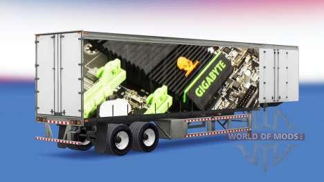 La piel de Gigabyte en una cortina semi-remolque para American Truck Simulator