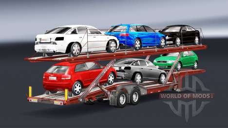 Semi remolque-carro transportador con Audi y For para Euro Truck Simulator 2