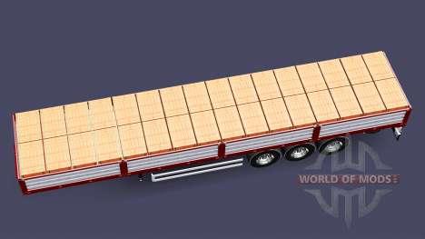 Plataforma semi remolque con una carga de ladril para Euro Truck Simulator 2