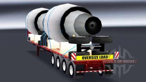 El semirremolque de plataforma con motores de para American Truck Simulator