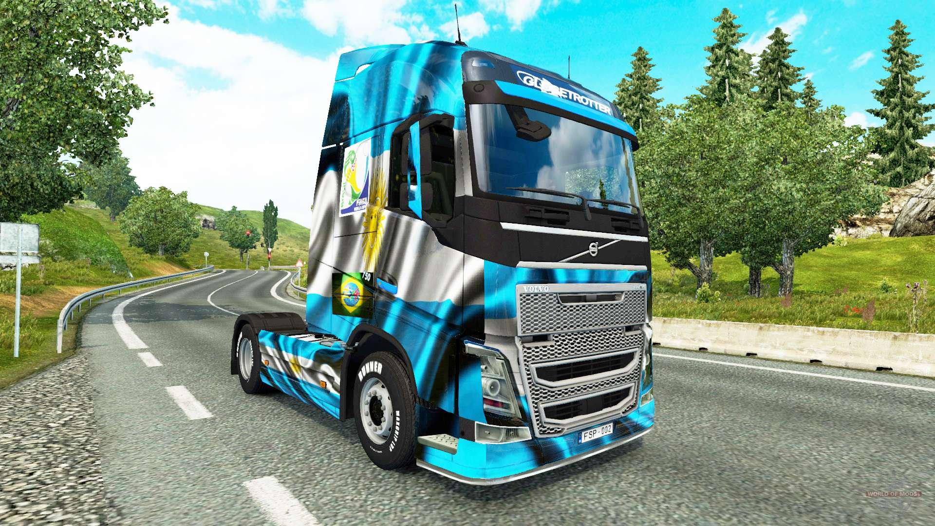 la argentina de copa 2014 de la piel para camiones volvo para euro truck simulator 2. Black Bedroom Furniture Sets. Home Design Ideas