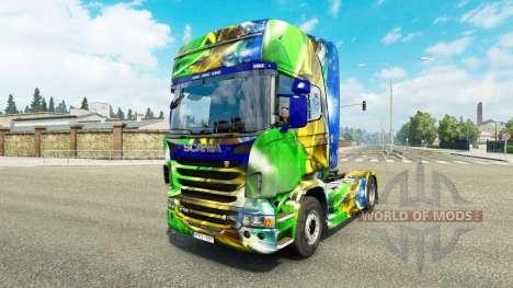 La piel de Brasil 2014 para Scania camión para Euro Truck Simulator 2